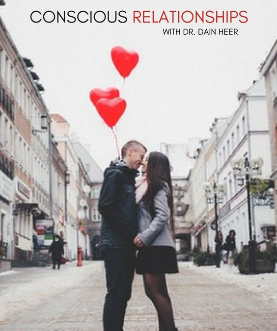 Couple with balloons about to kiss against buildings backdrop. illustration for Top Tips on How to Consciously Create Love