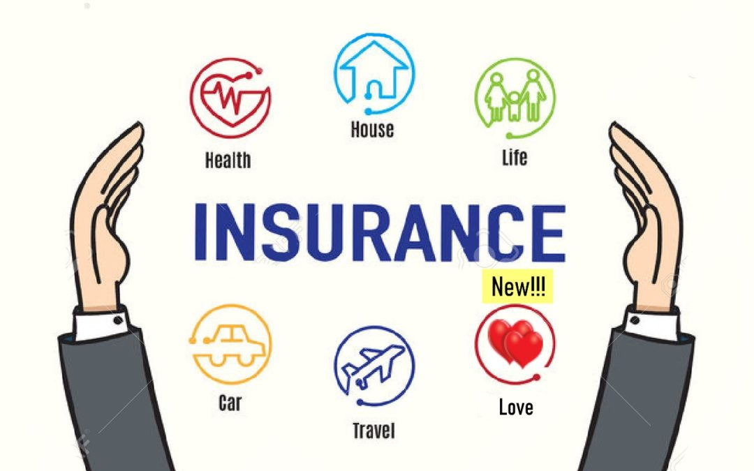 Text Insurance and icons of health, house, life, travel, and new love being held by two hands as illustration for Why Invest in Relationship Skills Before Finding Love?